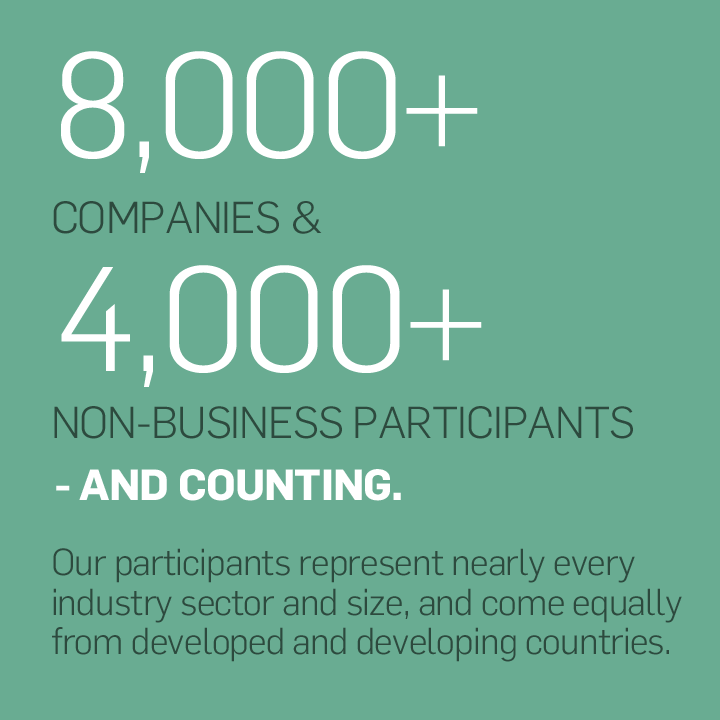 Our 8,000+ companies and 4,000+ non-business participants – and counting – represent nearly every industry sector and size, and come equally from developed and developing countries.