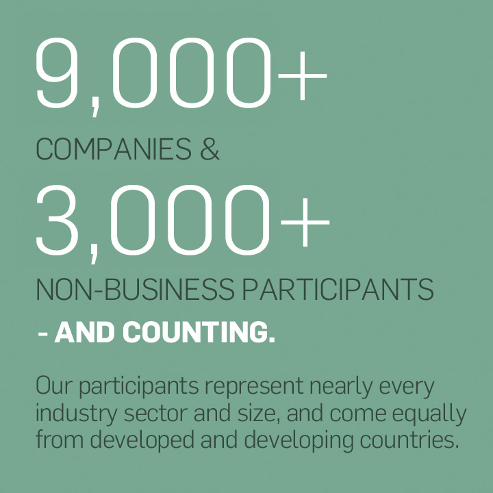 Our 9,000+ companies and 3,000+ non-business participants – and counting – represent nearly every industry sector and size, and come equally from developed and developing countries.